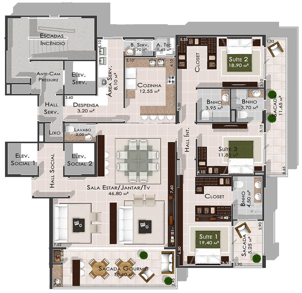 3 Quartos - Unique Residence