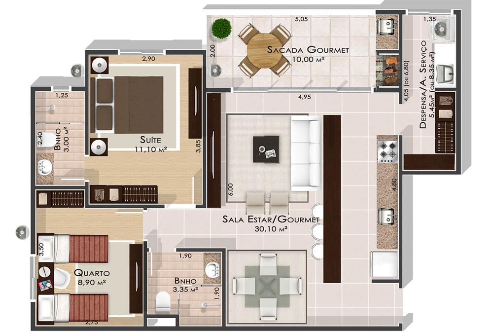 2 Quartos - Ed. Alter Ville Beach Home