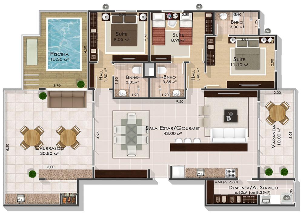 3 Quartos (cobertura) - Ed. Alter Ville Beach Home